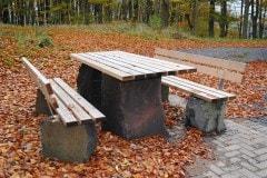 Basalt, Holz, Tisch, Bank, design, rustikal, stabil